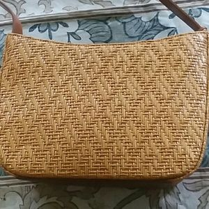 Fossil leather and woven summer bag